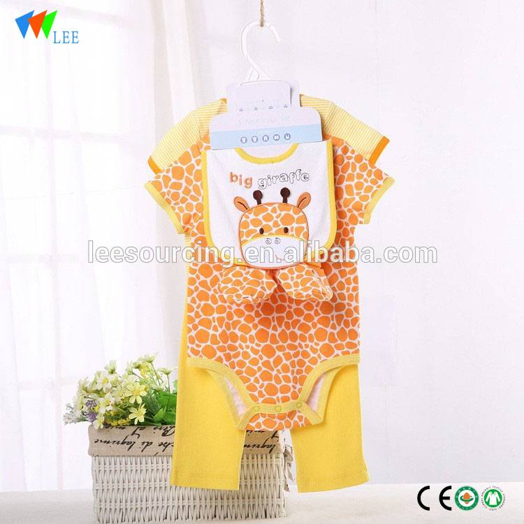 High quality animal printing short sleeve romper baby clothing sets