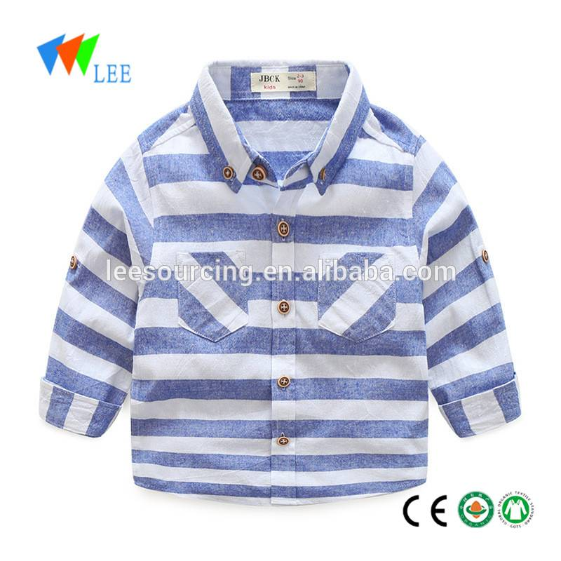 Western style boutique children clothes baby boys long sleeve stripe shirts kids tops wholesale