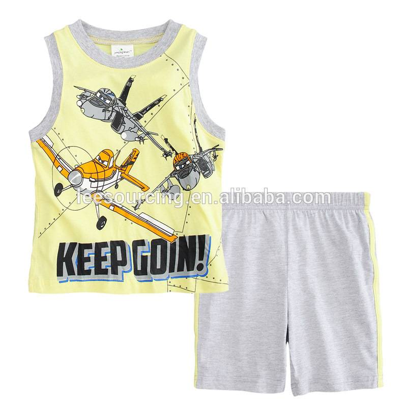 Wholesale children's boutique clothes kids cotton clothing tank top with shorts set