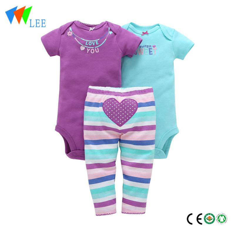 Wholesale Baby Wears cotton bodysuit set baby romper set Baby Layette