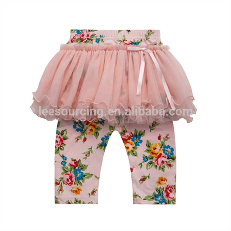 Fashion party girl leggings cotton trousers tulle skirt pants dress colorful printing pantskirt for children baby