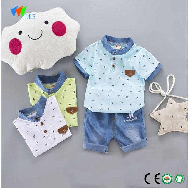 1-2T fashion polo printing t-shirt and trousers set