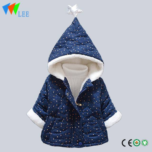 kids winter cotton-padded jacket kids hoodie coats baby warm cashmere