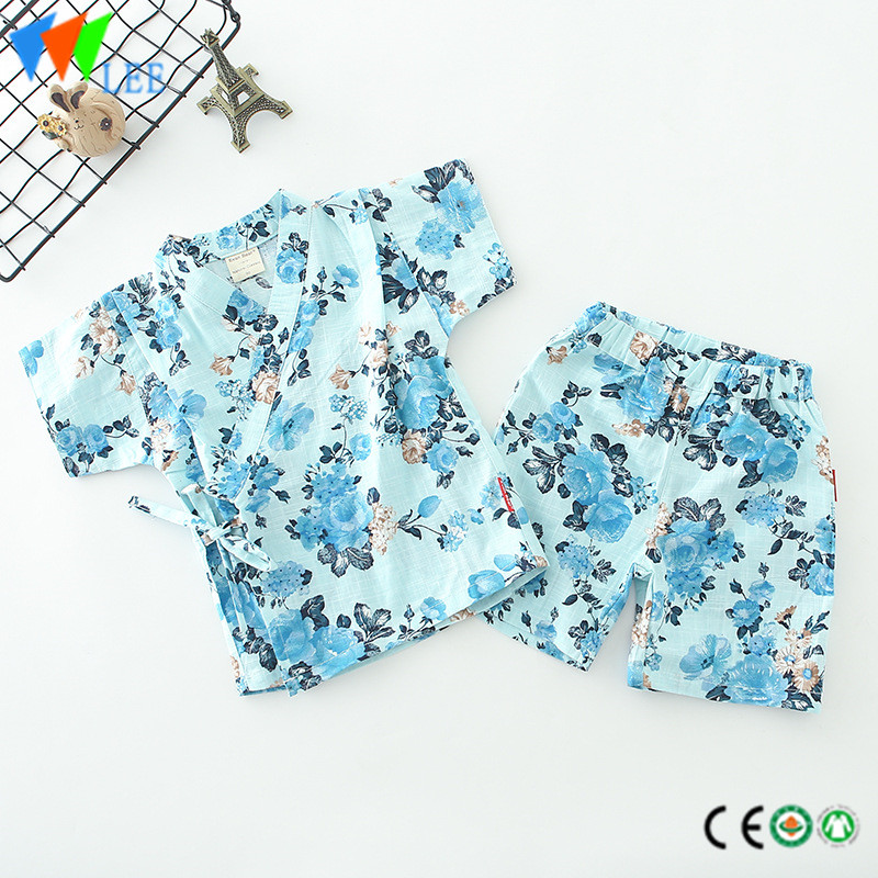 baby boy children clothes set short sleeve and shorts cotton flax kimono printed flowers