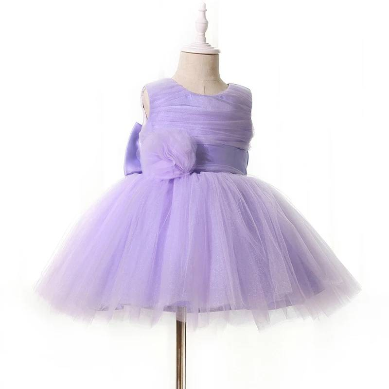 Low Price Custom Baby Birthday Dress Purple New Model Girl Dress