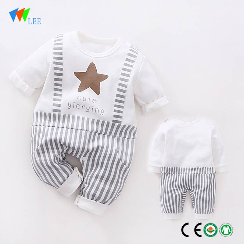 wholesale New fashions cotton long sleeve rompers comfortable romper 2pcs bamboo baby set