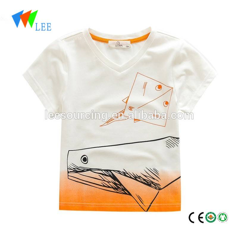 Summer tops kids baby wear cotton boys t shirts o-neck fancy t shirt