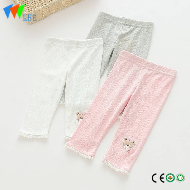 100% cotton baby girl leggings wholesale pure-color embroidered bear with lace