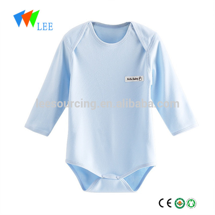 High Quality Cotton Newborn Long Sleeve Clothes Plain Bamboo Baby Onesie