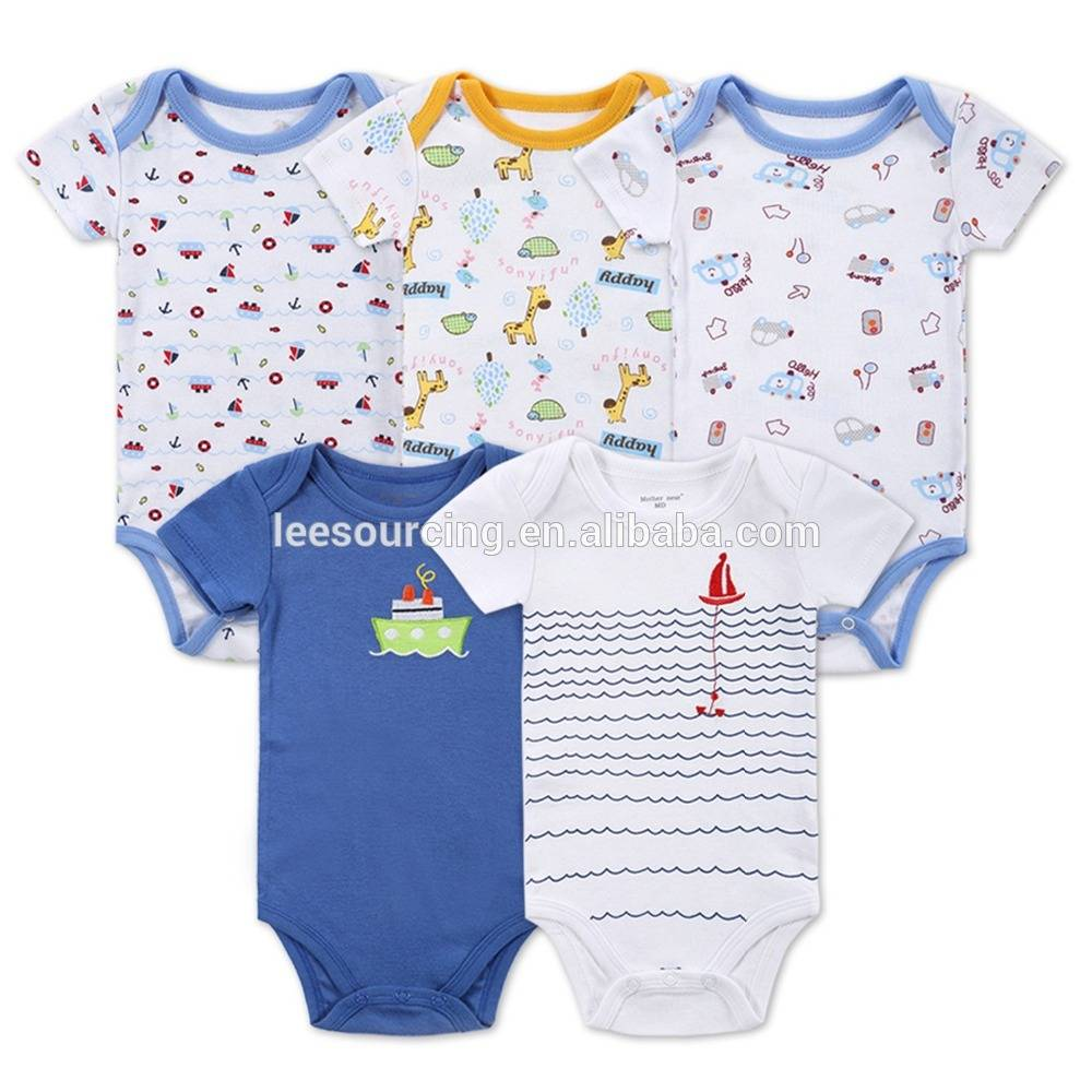 5pcs/lot Cute designs newborn baby boy girl romper for summer baby romper