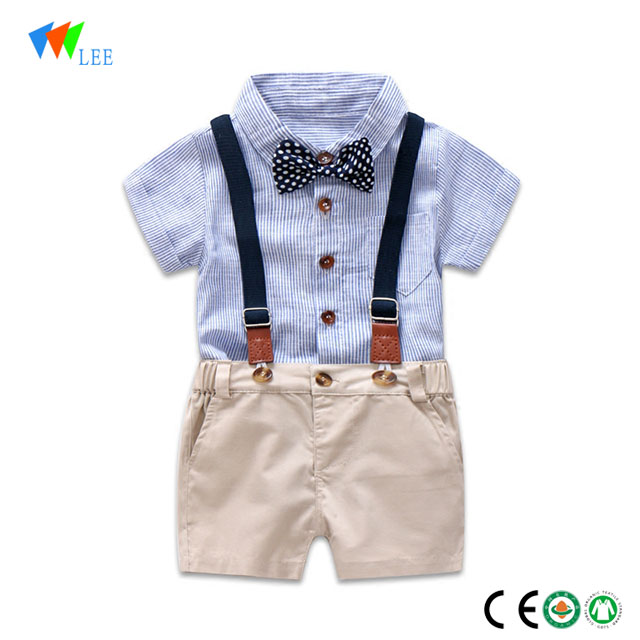 wholesale baby kids cotton blank polo t-shirt and short trousers set