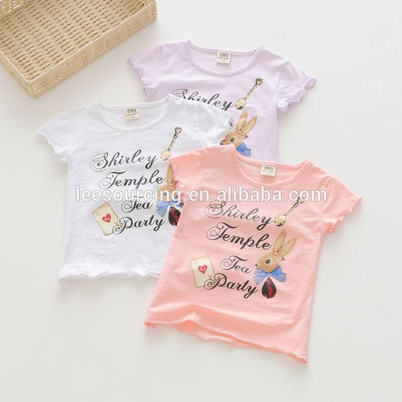 Wholesale words printing cotton kids girl cartoon t-shirts