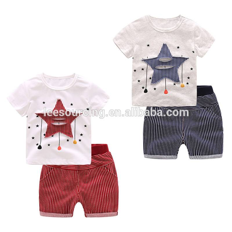 Wholesale quality 100% cotton baby boy clothing sets tshirt and shorts 2pcs set