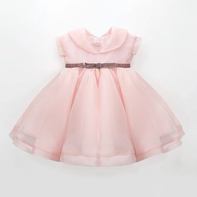 Custom factory sleeveless flower girls clothing baby pink flare children frocks dress for girl 5 years