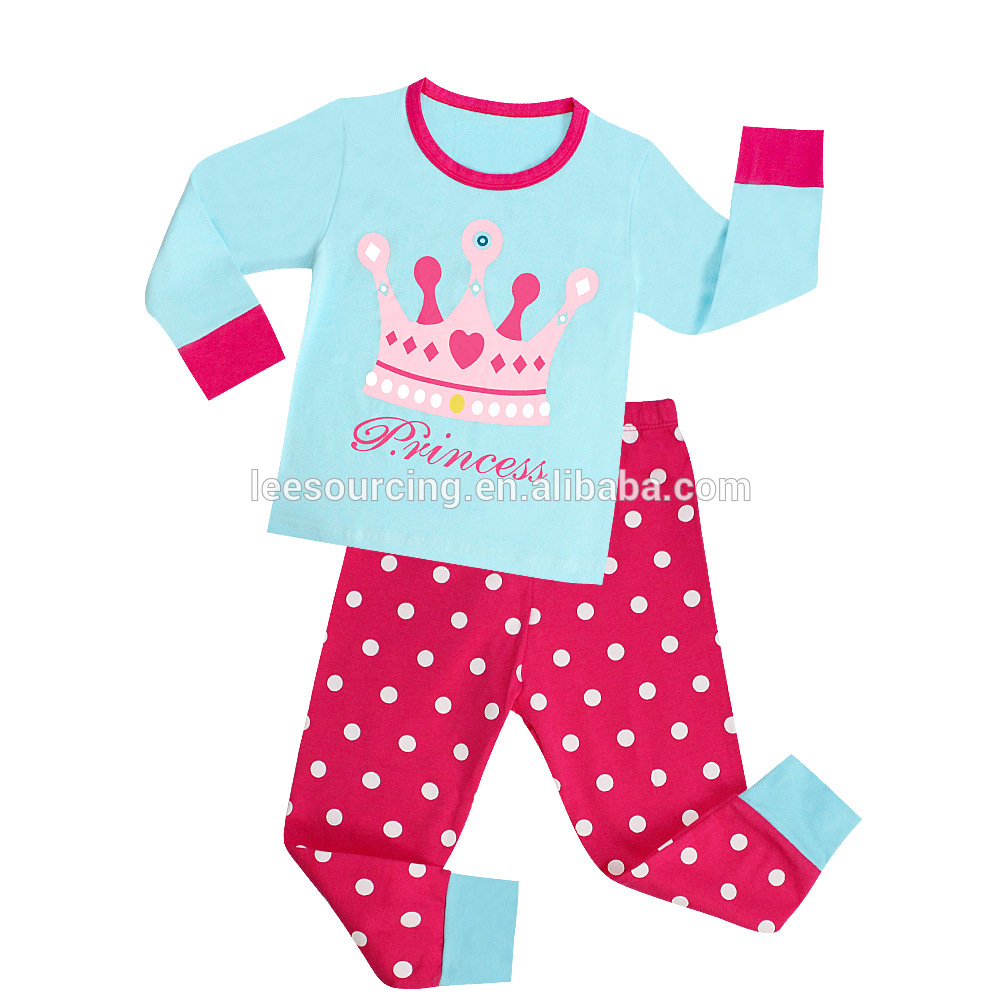 Wholesale Cute Baby Girls Cartoon Printed pajamas Clothes Set Children home wear tops and pants set