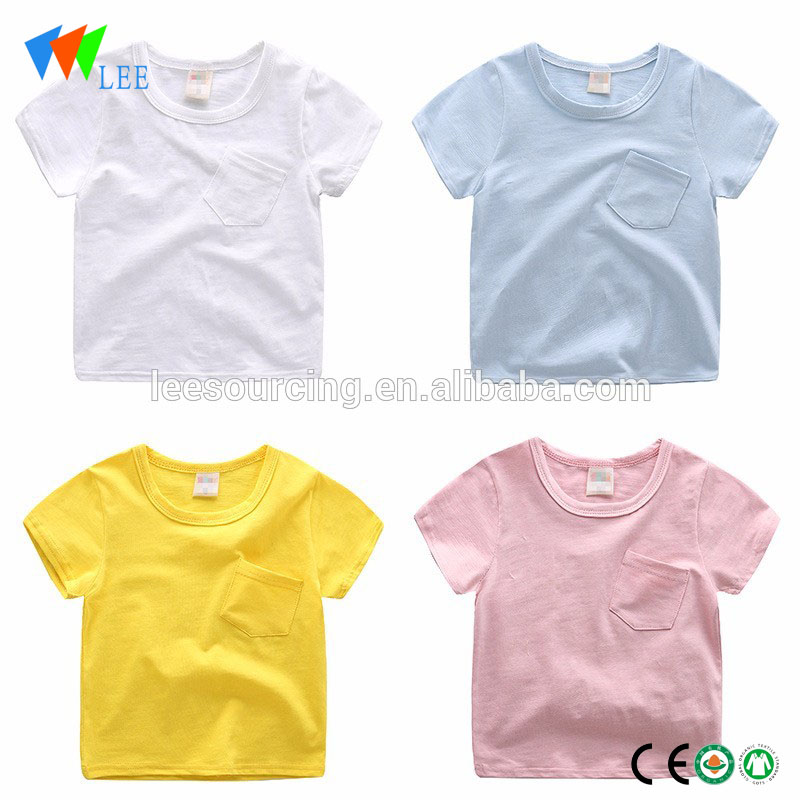 Wholesale pocket bamboo fabric fashion t-shirt baby girls slim fit t-shirt