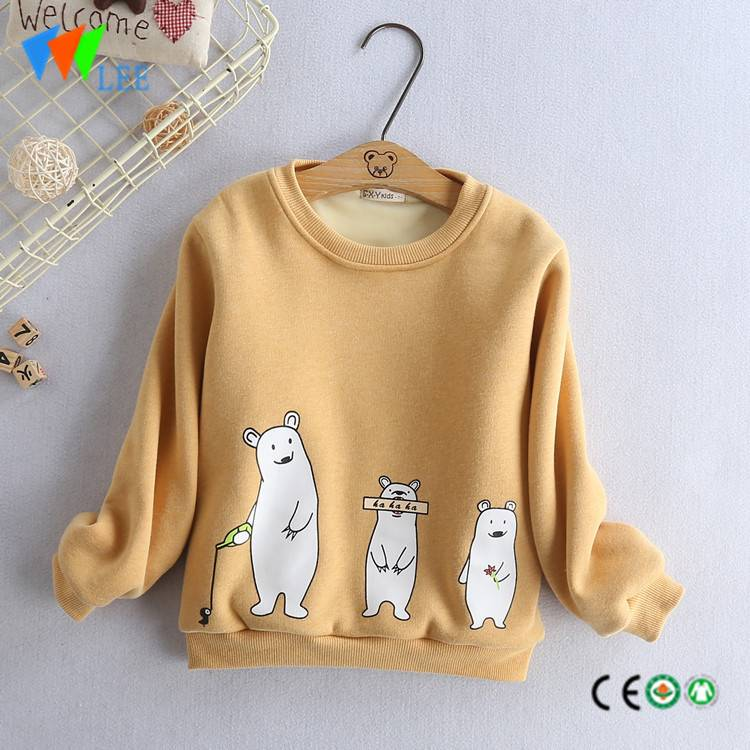 100% cotton kids long sleeve t shirt fleece round collar print lovely