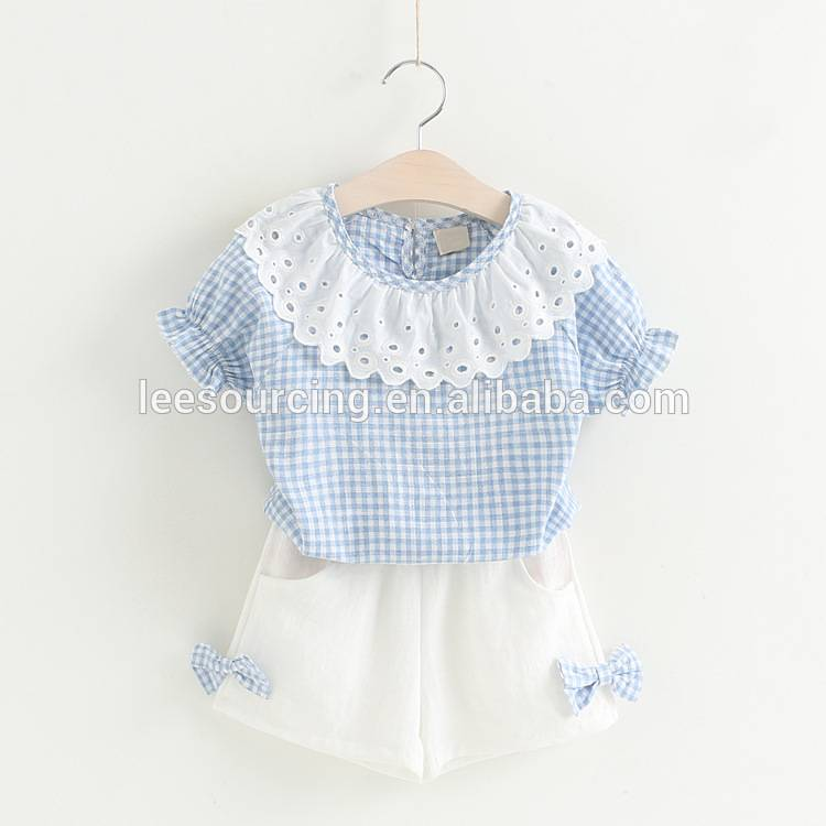 Wholesale cotton plaid shirt and short girls children clothing set