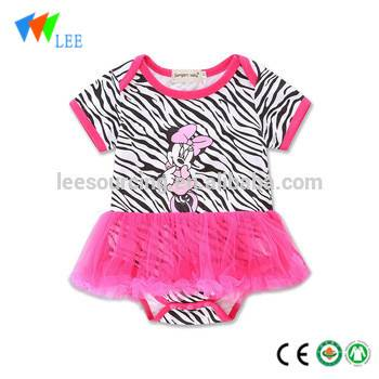 Babies Cotton Clothing Lovely Toddler Girls Pink Baby Romper Dress Featured Image