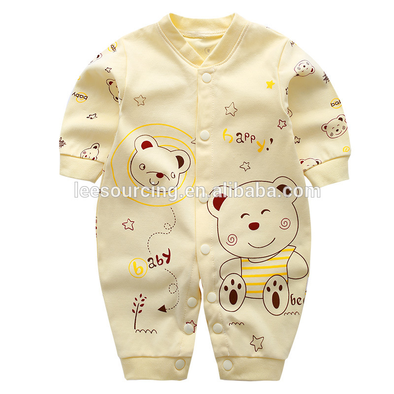Animal pattern long sleeve cotton bamboo baby onesie