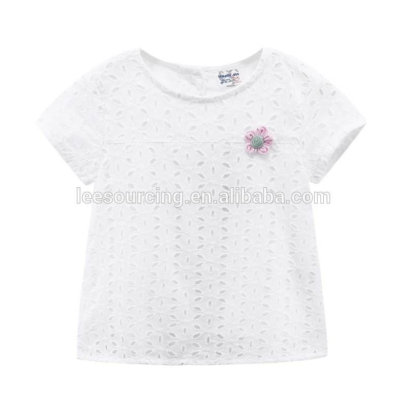 Cute baby t shirt flower front top fashion kids white short sleeve girls t shirt