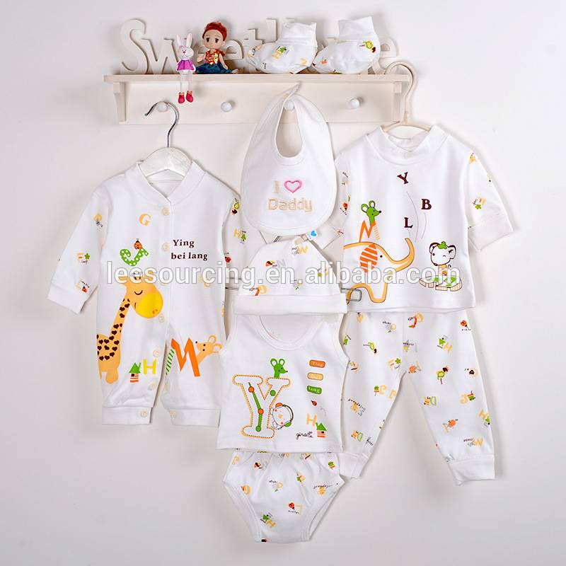 100% cotton newborn knitted printing hot sale baby clothing sets