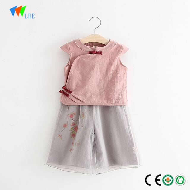 100% cotton wholesale baby girls clothing sets