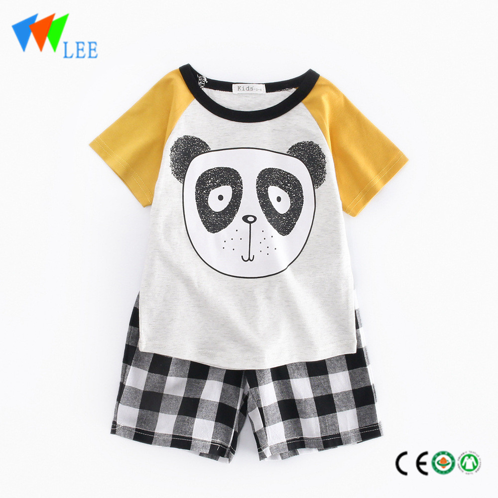 100%cotton baby boy clothes set T-shirt suit summer short sleeve and shorts printed panda