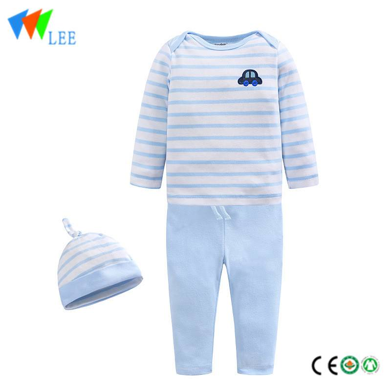 baby's bodysuits 100% clothing cotton striped three sets pajamas infant sets