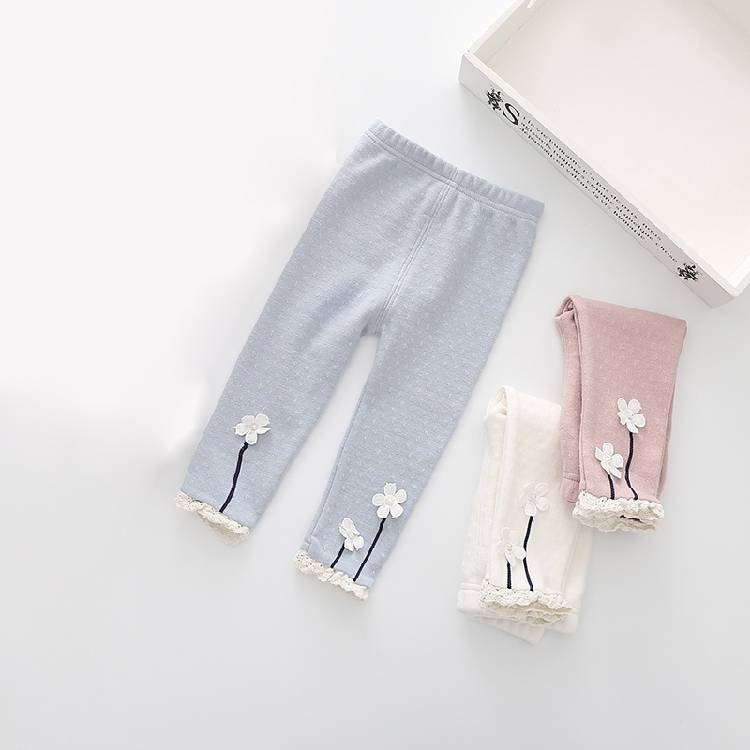 Hot Sale Casual Baby Leggings Plain Print Girls Ruffle Pants