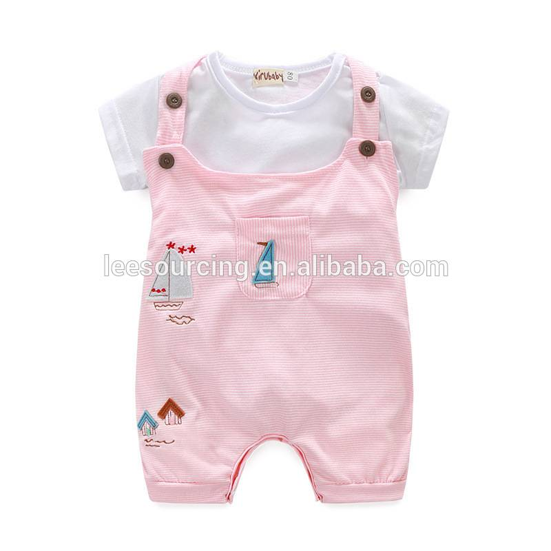 Summer Baby Girl's Short Sleeve Cotton Romper Overalls Two Pieces Set