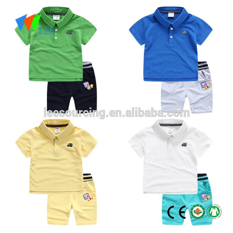 Wholesale Children Polo T-shirt and Short Pants 2 Piece Set Cheap Kids Clothes Children