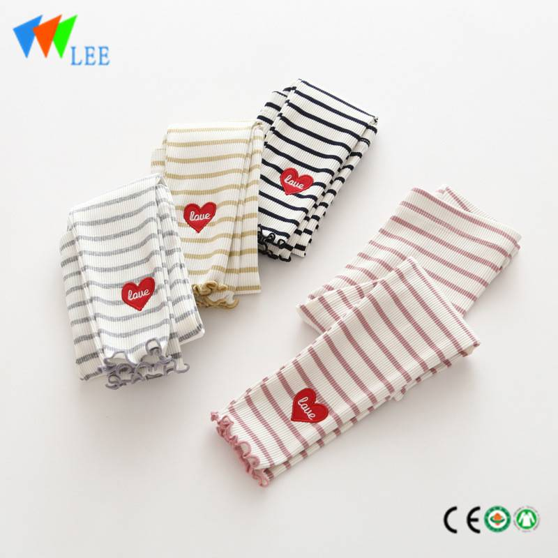 100% cotton baby girl leggings wholesale striation applique lovely love