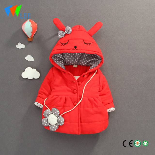 baby cute single row of flower backpack-hooded girls' bunny winter jackets & coats