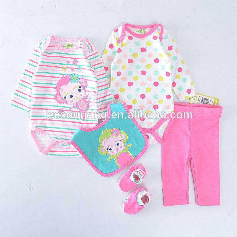 Baby Romper Suit 100% Cotton 4-Piece Set Baby Clothes Romper Baby Bodysuit and Pant