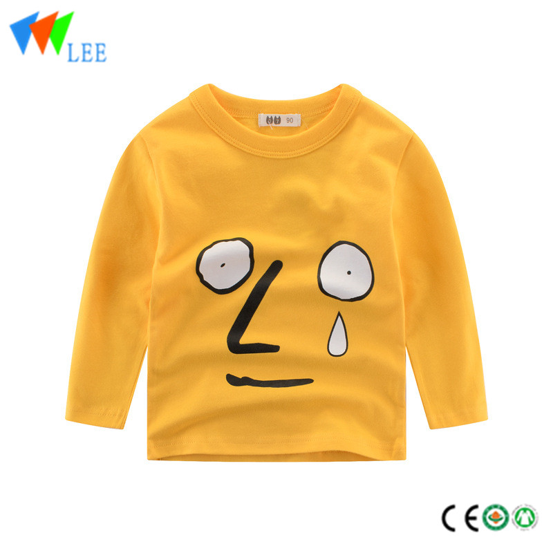100% cotton kids long sleeve t shirt render round collar with print