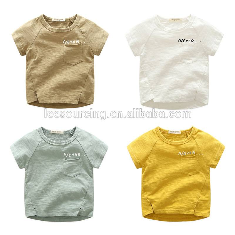 Short sleeve wholesale bamboo cotton kids t shirt for cute boy
