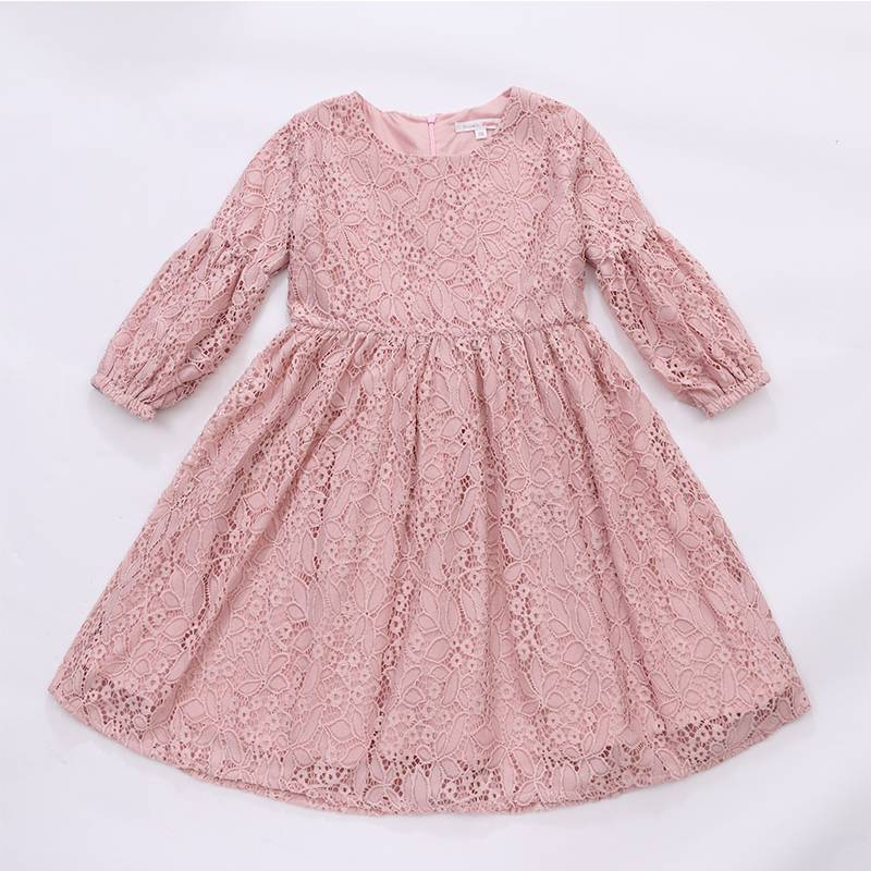 2017 Fashion cute baby girl long sleeves dress toddler 100% lace dress for kids