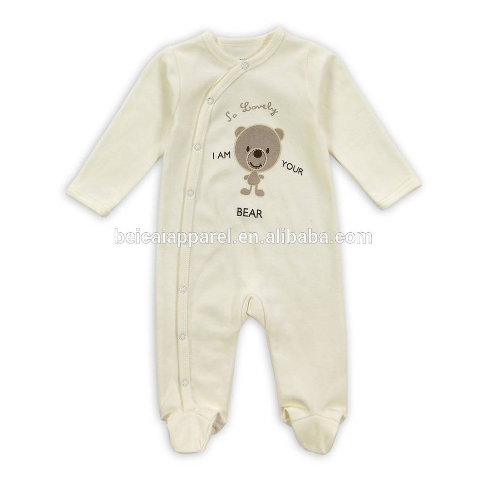 Factory Supply Spring 100% Cotton Long Sleeve Baby Footed Rompers Newborn Infant One-piece Bodysuit w/ Cute Teddy Bear Print