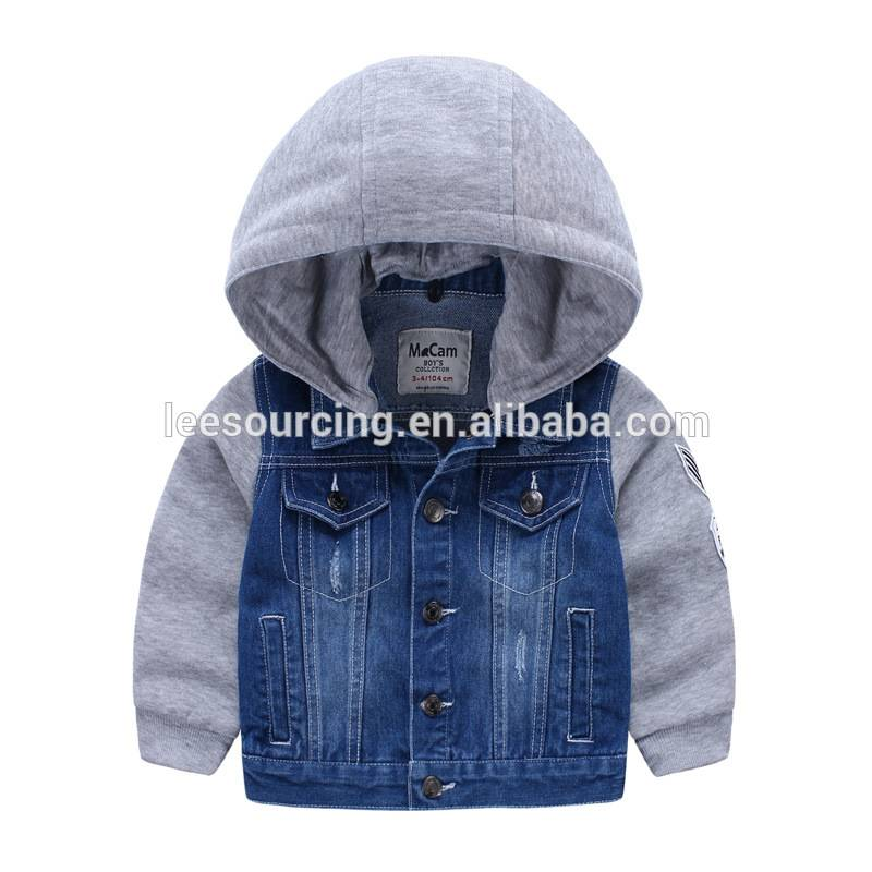 Fashional splicing with hood knitted kids denim jacket