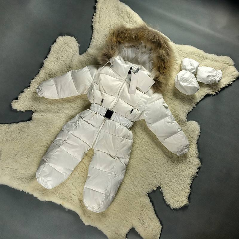 High quality winter baby leather clothes white duck feather kids down jacket with fur collar