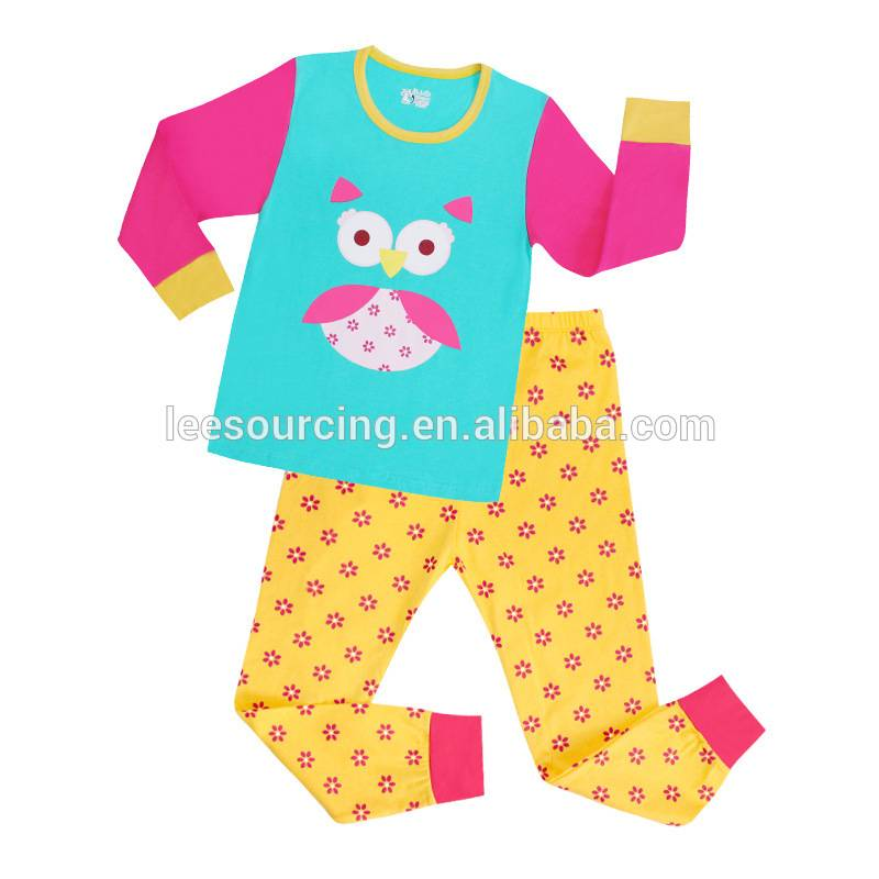 Cute baby Cartoon Printed home wear Nightclothes 100% Cotton Children Pyjamas kids clothes set wholesale