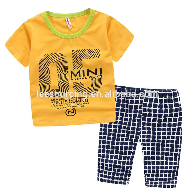High quality 100% cotton 2 pcs t shirt and pants boy clothing set children clothes set