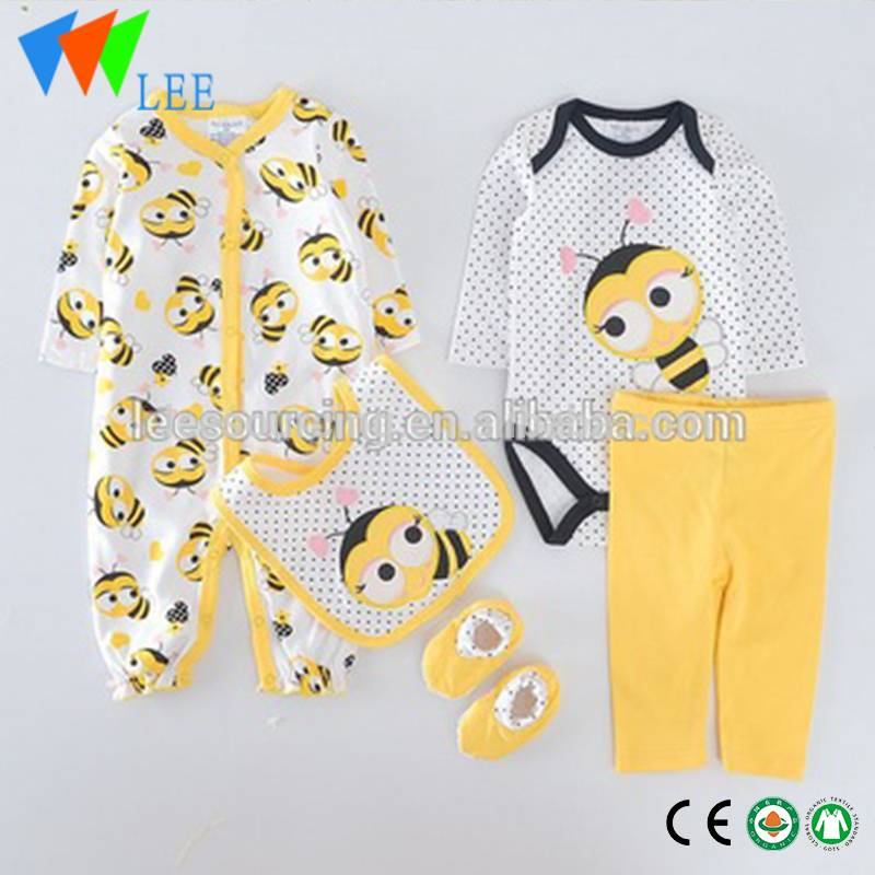 Baby Romper Wholesale Girl Clothes Set Baby Cotton Romper Baby 3- piece Layette Set