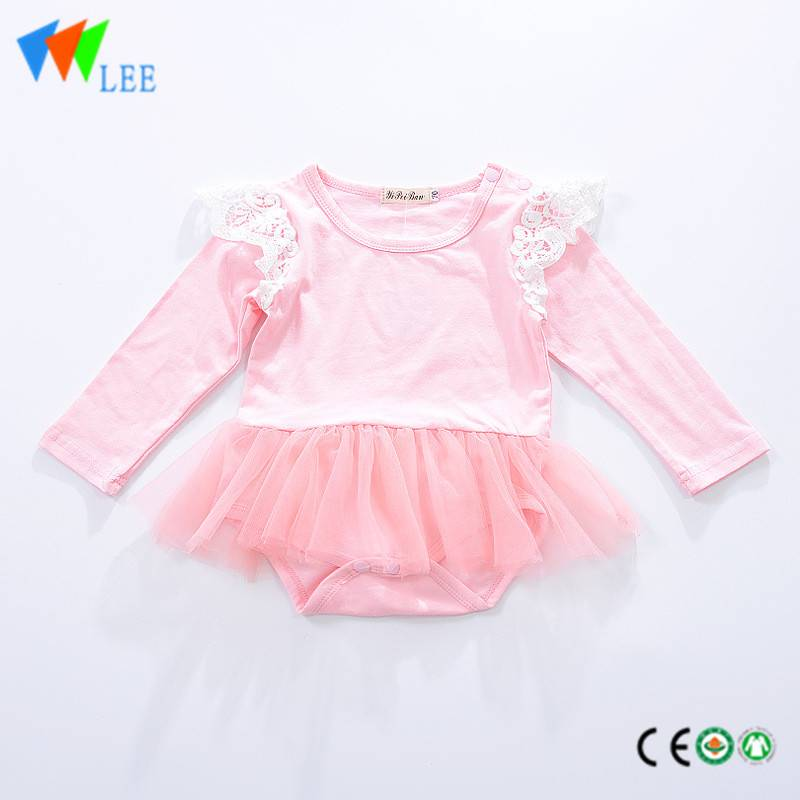 100% cotton O/neck baby long sleeve romper high quality with lace dress