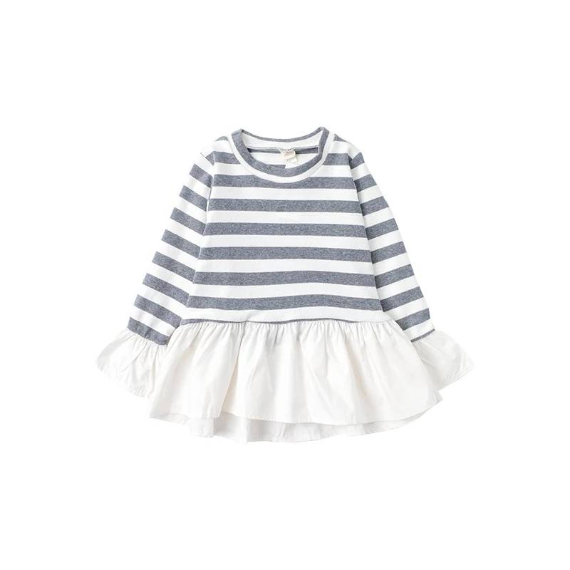 Wholesale Latest Children Dress Designs Long Sleeve Cotton Stripe Baby Girls Shirt Dress