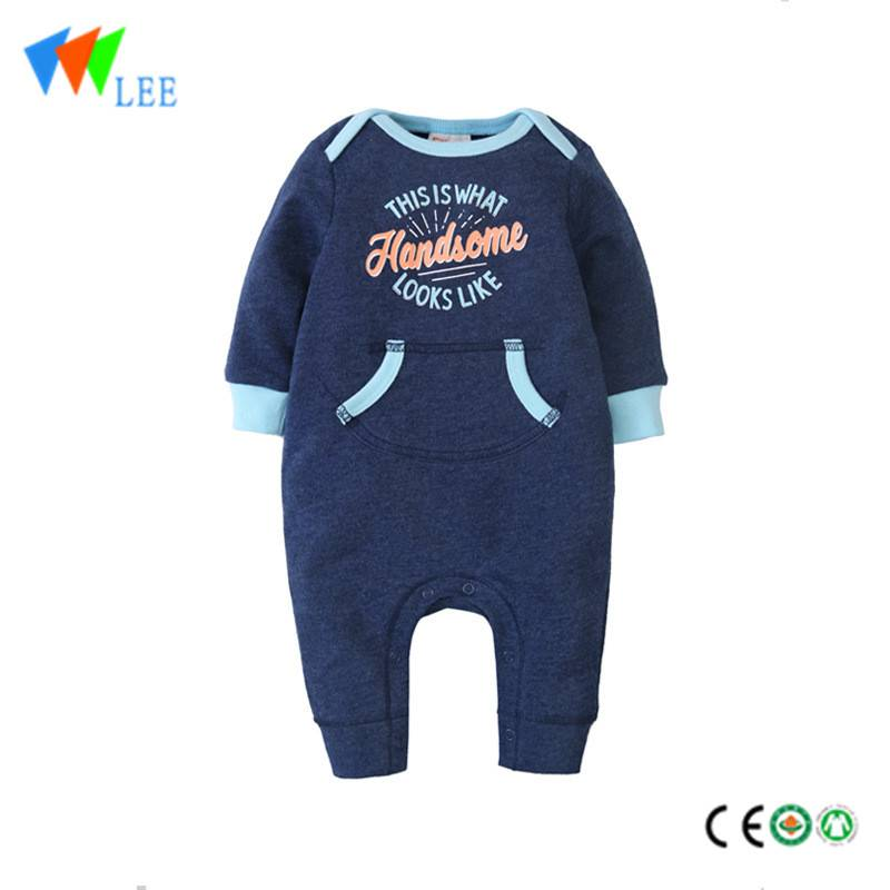 100% cotton O/neck baby long sleeve romper high quality sports style