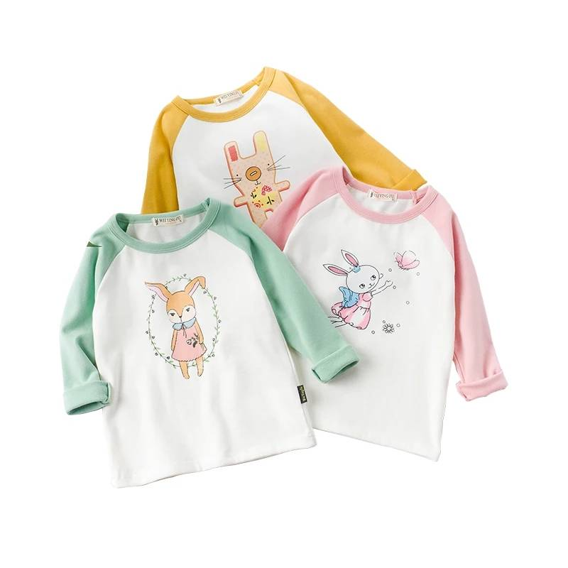 New Christmas Children Clothing Cotton Raglan Baby Girl Tops Kids Long Sleeve Shirts