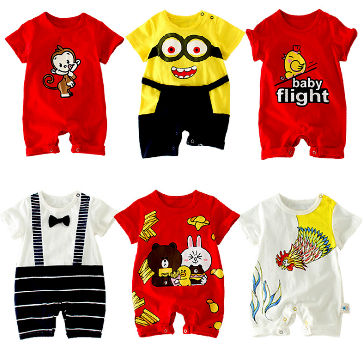 High Quality Short Sleeve Summer Comfortable Cartoon Patterns Baby Bamboo Romper