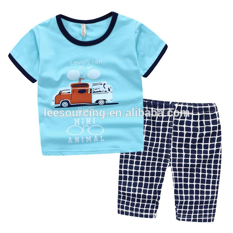 Kids Clann Little Boy Comfy 2pcs Aodach Set Clann Cotton Clothes Suit Top agus Pants